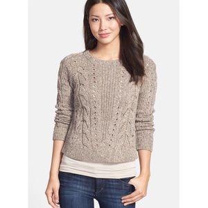 Lucky Brand Mixed Knit Crewneck Sweater Oatmeal